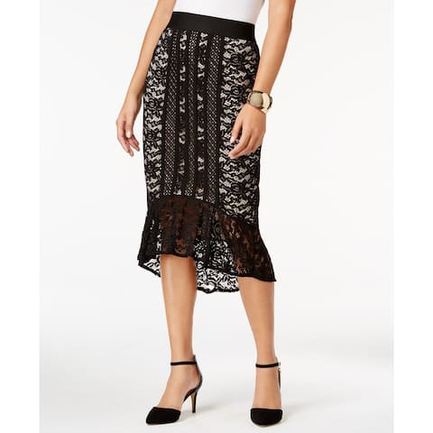 Thalia Sodi Women's Lace Flounce High-Low Skirt Black Size Small