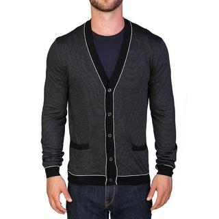 Prada Men's Virgin Wool Silk Cardigan Sweater Black Striped