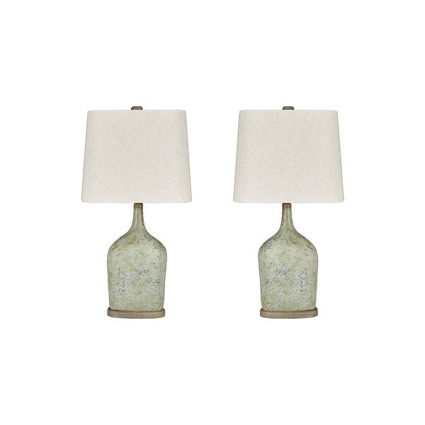 """Maribeth Vintage Casual Sage Paper Table Lamp - Set of 2 - 14""""W x 9""""D x 28""""H. Opens flyout."""