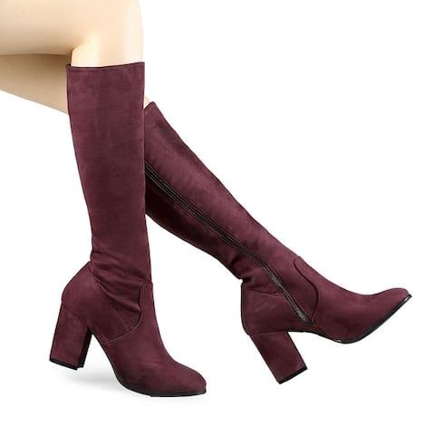Women's Side Zipper Chunky Heel Knee High Boots