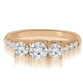 1.21 cttw. 14K Rose Gold Trellis Round Diamond Three-Stone Engagement Ring
