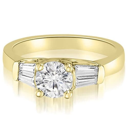 1.25 cttw. 14K Yellow Gold 3-Stone Round And Baguette Diamond Engagement Ring
