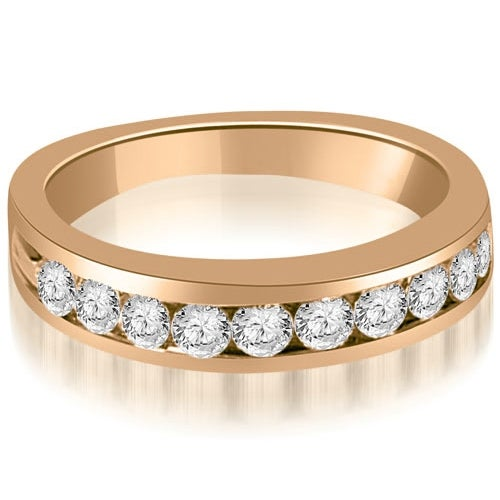 0.80 cttw. 14K Rose Gold Round Cut Diamond Wedding Band