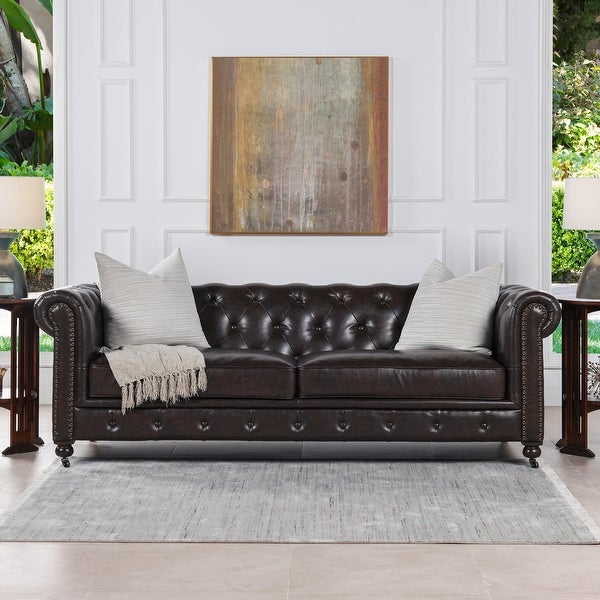 Shop Copper Grove Munich Vintage Leather Tufted Chesterfield