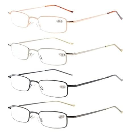 4-Pack Compact Spring Temple Reading Glasses with Portable Pocket Clip Aluminum Case +1.75
