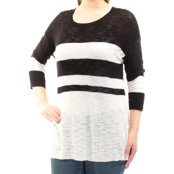 437d4ded Shop VINCE CAMUTO Womens Black Striped 3/4 Sleeve Jewel Neck Sweater Size:  XL - On Sale - Free Shipping On Orders Over $45 - Overstock - 21510693