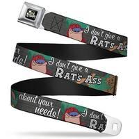 Ren & Stimpy Pose Full Color Black Ren & Stimpy Sketch I Don't Give A Rat's Seatbelt Belt