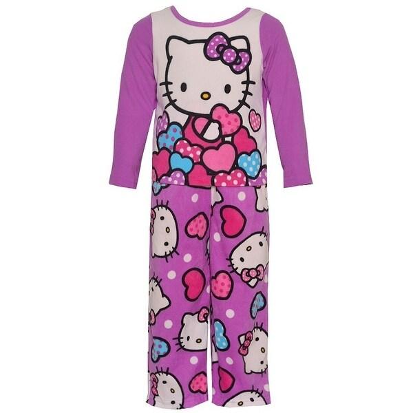 Hello Kitty Little Girls Purple Cartoon Character Print 2 Pc Pajama Set