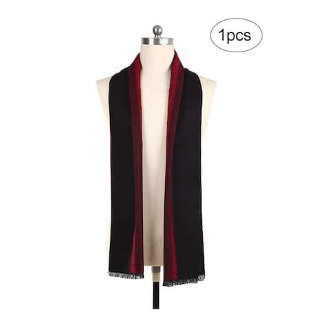 Men Plaids Pattern Warm Soft Wrap Shawl Long Scarves Black+Burgundy - 70 7/8 x 12 5/8 inches
