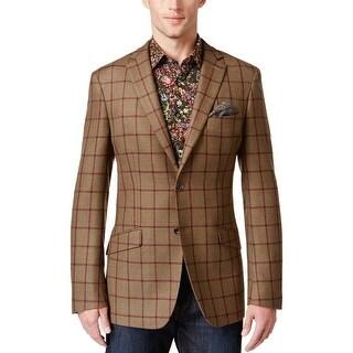 Tallia Orange Slim Fit Brown Olive Windowpane Wool Two Button Sportcoat Blazer