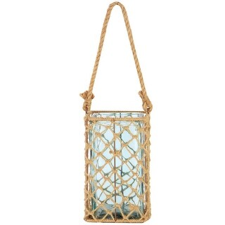 "Link to 9.5"" Decorative Teal Glass and Jute Square Pillar Candle Holder with Handle Similar Items in Decorative Accessories"