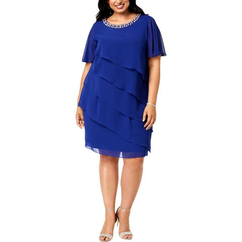 SLNY Womens Plus Cocktail Dress Embellished Tiered
