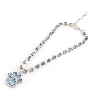 Rhinestone Inlaid Metal Paw Pendent Beautify Adjustable Pet Necklace Collar Blue