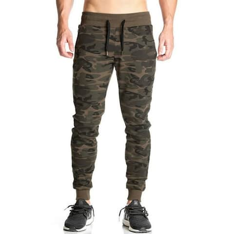 Men Fitted Jogger Pants Gym Workout Running Sweatpants With Zipper Bottom - 01