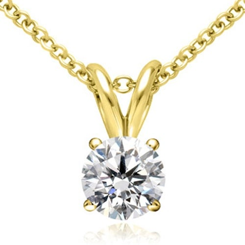 0.25 cttw. 14K Yellow Gold Round Cut Diamond 4-Prong Basket Solitaire Pendant