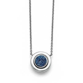 Chisel Stainless Steel Polished Blue Druzy Circle with 2in ext. Necklace (1 mm) - 18.25 in