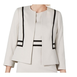 Kasper Women Jacket Cream Beige Size 14 Jewel Neck Open Front Jacquard