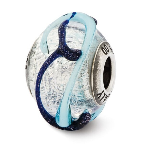 Italian Sterling Silver Reflections with Blue Textured Lines Glass Bead (4mm Diameter Hole)