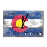Telluride Rustic Colorado State Flag - LP Artwork (Acrylic Wall Clock) - acrylic wall clock