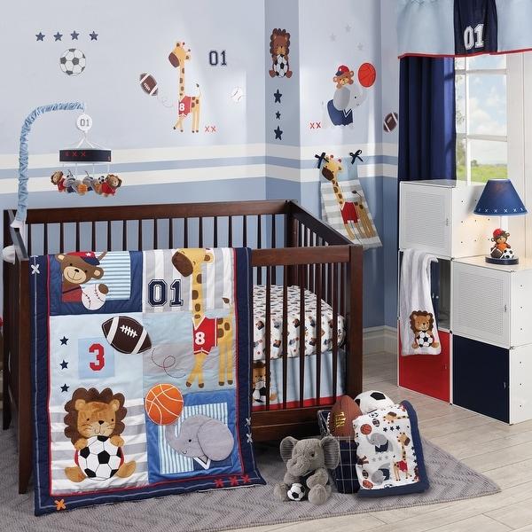 Lambs & Ivy Future All Star Blue/Gray/White Animal Sports Nursery 4-Piece Baby Crib Bedding Set