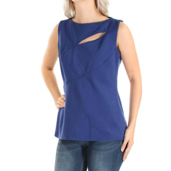 ANNE KLEIN Womens Blue Cut Out Sleeveless Jewel Neck Wear To Work Top Size: 6