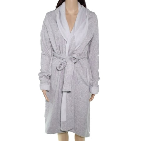 UGG Womens Duffield II Robe Heather Gray Size Large L Fleece Belted