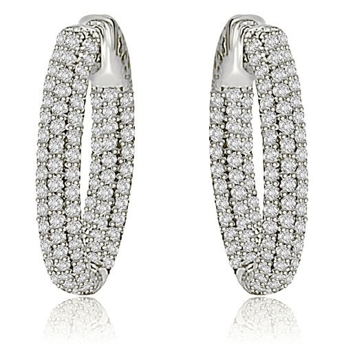 2.75 cttw. 14K White Gold Round Cut Diamond Hoop Earrings - White H-I