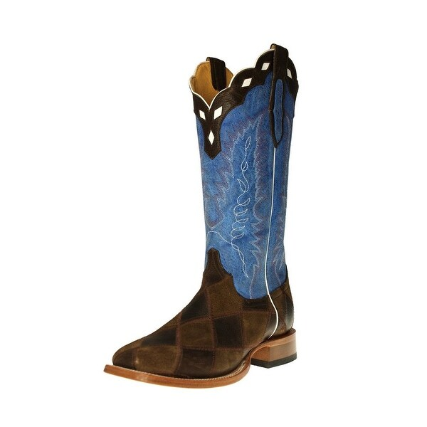 Cinch Western Boots Mens Leather Square Dark Brown Royal Blue