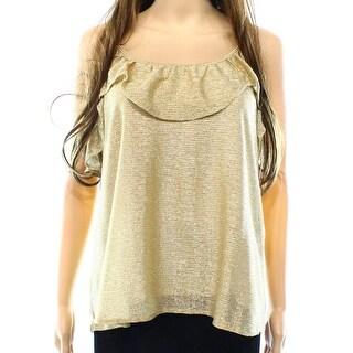 June & Hudson NEW Gold Womens Size Medium M Metallic Popover Blouse