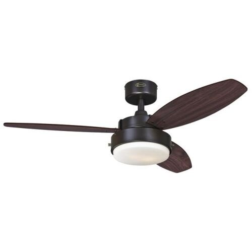 "Westinghouse 7201900 Alloy 42"" 3 Blade Hanging Indoor Ceiling Fan with Reversible Motor, Blades, Light Kit, and Down Rod"