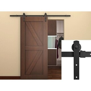 Belleze Classic Rustic Sliding Barn Wood Door Modern Track Hardware, 6.6 FT (Frosted Black)