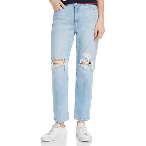 Paige Womens Noella Straight Leg Jeans High-Rise Distressed - Myrtle Dest