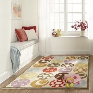 Link to Momeni Lil Mo Whimsy Ivory Candy Dots Hand-Tufted and Hand-Carved Rug (2' X 3') Similar Items in Rugs