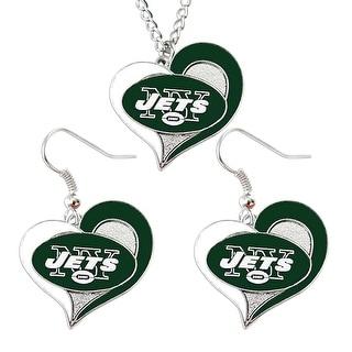 New York Jets Swirl Heart Necklace & Earring Set NFL Charm Gift