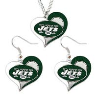 New York Jets Swirl Heart Necklace & Earring Set NFL Charm Gift