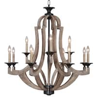 """Craftmade 35112 Winton Two Tier 12-Light Candle Style Chandelier - 36"""" Wide - weathered pine"""