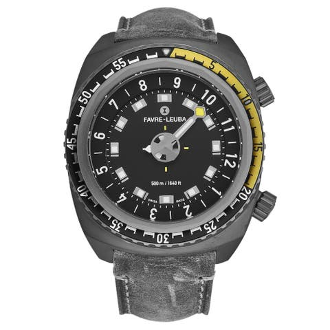 Favreleuba men's 00.10121.10.14.45 'raiderharpoon' black dial grey leather strap automatic watch