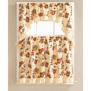 Blair Printed 3-Piece Kitchen Curtain Swag & Tiers Set, Beige, 60x36 & 30x36 Inches - N/A