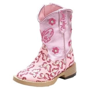 Blazin Roxx Western Boots Girls Pecos Cowboy Glitter Zip Pink