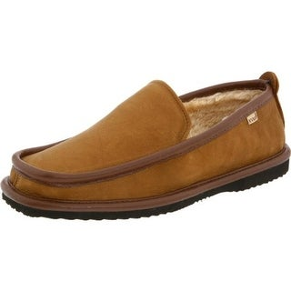 L.B. Evans Mens Imperial Deer Leather Faux Fur Lined Leather Slippers - 8 extra wide (eee)