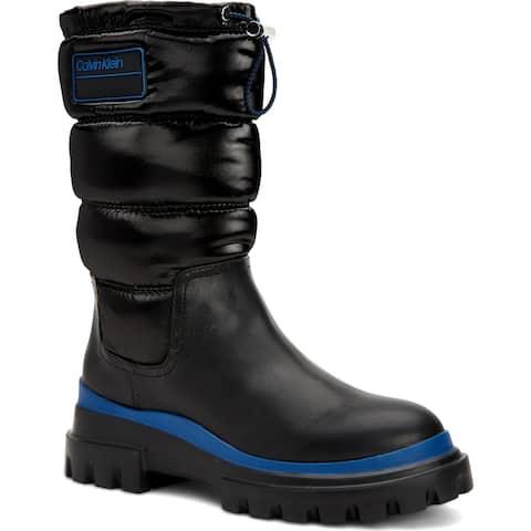 Calvin Klein Womens Laeton Winter Boots Water Resistant Cold Weather - Black/Montana Sky Cow Kansas/Crinkle