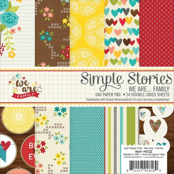"Simple Stories Double-Sided Paper Pad 6""X6"" 24/Pkg-We Are Family, 12 Designs/2 Each"