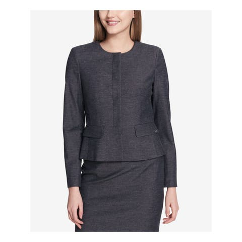 CALVIN KLEIN Womens Navy Peplum Blazer Wear To Work Jacket Petites Size: 4