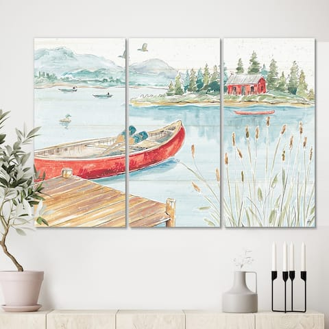 Designart 'Lake House Canoes I' Lake House Canvas Artwork