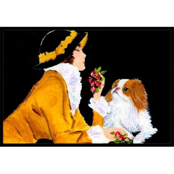 Carolines Treasures SS8540JMAT Lady with her Japanese Chin Doormat - 24 x 36 in.