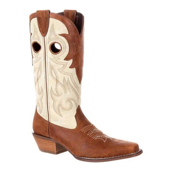 "Durango Boot Women's DRD0174 Crush 12"" Off The Collar Western Boot Tan/Cream Full Grain Leather"