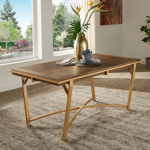 Cooke Natural Finish Gold Metal 72-inch Dining Table by iNSPIRE Q Modern
