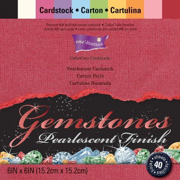 "Core'dinations Gemstones Cardstock Pack 6""X6"" 40/Pkg-Pearlescent Assortment"