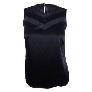 Kasper Women's Plus Size Satin Illusion Top - Black
