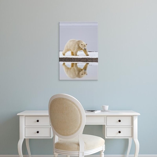 Easy Art Prints Hugh Rose's 'A Polar Bear Is Reflected In Calm Waters' Premium Canvas Art